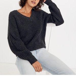 Madewell cropped pleat sleeve sweater gray medium